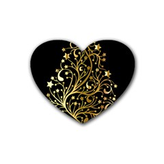 Decorative Starry Christmas Tree Black Gold Elegant Stylish Chic Golden Stars Heart Coaster (4 pack)