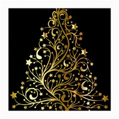 Decorative Starry Christmas Tree Black Gold Elegant Stylish Chic Golden Stars Medium Glasses Cloth