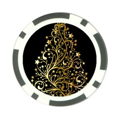 Decorative Starry Christmas Tree Black Gold Elegant Stylish Chic Golden Stars Poker Chip Card Guards
