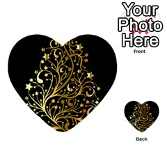 Decorative Starry Christmas Tree Black Gold Elegant Stylish Chic Golden Stars Multi-purpose Cards (Heart)