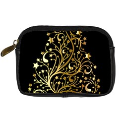 Decorative Starry Christmas Tree Black Gold Elegant Stylish Chic Golden Stars Digital Camera Cases