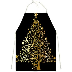 Decorative Starry Christmas Tree Black Gold Elegant Stylish Chic Golden Stars Full Print Aprons