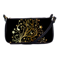 Decorative Starry Christmas Tree Black Gold Elegant Stylish Chic Golden Stars Shoulder Clutch Bags