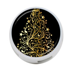 Decorative Starry Christmas Tree Black Gold Elegant Stylish Chic Golden Stars 4-Port USB Hub (Two Sides)