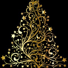 Decorative Starry Christmas Tree Black Gold Elegant Stylish Chic Golden Stars Magic Photo Cubes