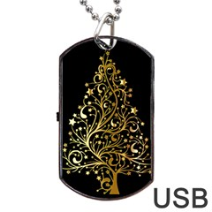 Decorative Starry Christmas Tree Black Gold Elegant Stylish Chic Golden Stars Dog Tag USB Flash (Two Sides)