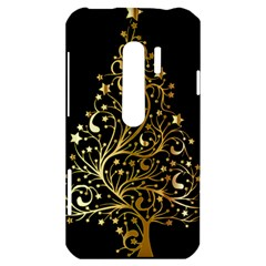 Decorative Starry Christmas Tree Black Gold Elegant Stylish Chic Golden Stars HTC Evo 3D Hardshell Case