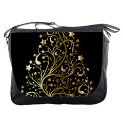 Decorative Starry Christmas Tree Black Gold Elegant Stylish Chic Golden Stars Messenger Bags