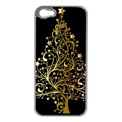 Decorative Starry Christmas Tree Black Gold Elegant Stylish Chic Golden Stars Apple iPhone 5 Case (Silver)
