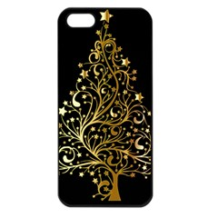 Decorative Starry Christmas Tree Black Gold Elegant Stylish Chic Golden Stars Apple iPhone 5 Seamless Case (Black)