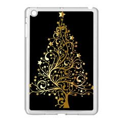 Decorative Starry Christmas Tree Black Gold Elegant Stylish Chic Golden Stars Apple iPad Mini Case (White)