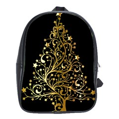 Decorative Starry Christmas Tree Black Gold Elegant Stylish Chic Golden Stars School Bags (XL)