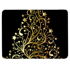 Decorative Starry Christmas Tree Black Gold Elegant Stylish Chic Golden Stars Samsung Galaxy Tab 7  P1000 Flip Case