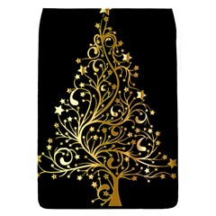Decorative Starry Christmas Tree Black Gold Elegant Stylish Chic Golden Stars Flap Covers (S)