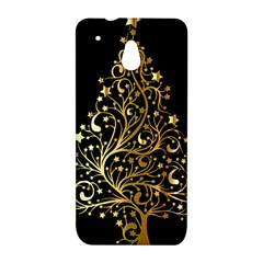 Decorative Starry Christmas Tree Black Gold Elegant Stylish Chic Golden Stars HTC One Mini (601e) M4 Hardshell Case