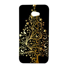 Decorative Starry Christmas Tree Black Gold Elegant Stylish Chic Golden Stars HTC Butterfly S/HTC 9060 Hardshell Case