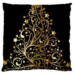 Decorative Starry Christmas Tree Black Gold Elegant Stylish Chic Golden Stars Large Flano Cushion Case (Two Sides)
