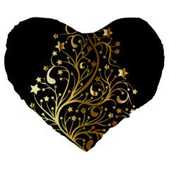 Decorative Starry Christmas Tree Black Gold Elegant Stylish Chic Golden Stars Large 19  Premium Flano Heart Shape Cushions
