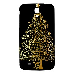 Decorative Starry Christmas Tree Black Gold Elegant Stylish Chic Golden Stars Samsung Galaxy Mega I9200 Hardshell Back Case
