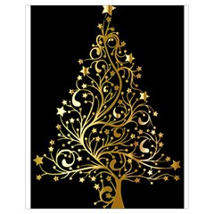 Decorative Starry Christmas Tree Black Gold Elegant Stylish Chic Golden Stars Drawstring Bag (Small)