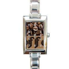 Funny Coffee Beans Brown Typography Rectangle Italian Charm Watch