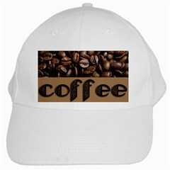 Funny Coffee Beans Brown Typography White Cap