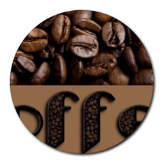 Funny Coffee Beans Brown Typography Round Mousepads