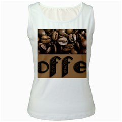 Funny Coffee Beans Brown Typography Women s White Tank Top