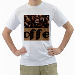 Funny Coffee Beans Brown Typography Men s T-Shirt (White) (Two Sided)