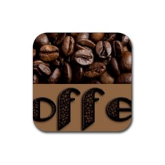 Funny Coffee Beans Brown Typography Rubber Square Coaster (4 pack)