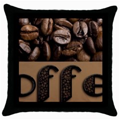 Funny Coffee Beans Brown Typography Throw Pillow Case (Black)