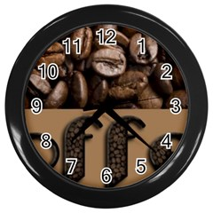Funny Coffee Beans Brown Typography Wall Clocks (Black)