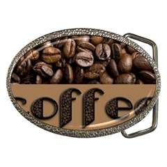 Funny Coffee Beans Brown Typography Belt Buckles