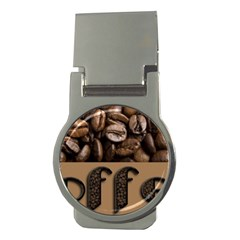 Funny Coffee Beans Brown Typography Money Clips (Round)