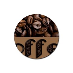 Funny Coffee Beans Brown Typography Rubber Coaster (Round)