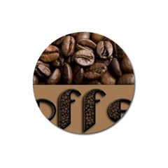 Funny Coffee Beans Brown Typography Magnet 3  (Round)
