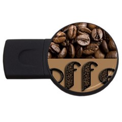 Funny Coffee Beans Brown Typography USB Flash Drive Round (1 GB)