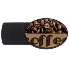 Funny Coffee Beans Brown Typography USB Flash Drive Oval (2 GB)