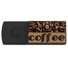 Funny Coffee Beans Brown Typography USB Flash Drive Rectangular (2 GB)