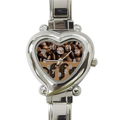 Funny Coffee Beans Brown Typography Heart Italian Charm Watch