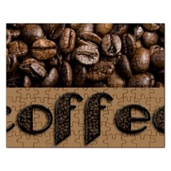 Funny Coffee Beans Brown Typography Rectangular Jigsaw Puzzl