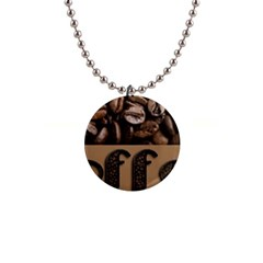Funny Coffee Beans Brown Typography Button Necklaces