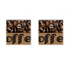 Funny Coffee Beans Brown Typography Cufflinks (Square)