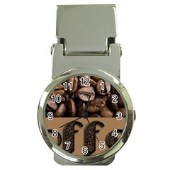 Funny Coffee Beans Brown Typography Money Clip Watches
