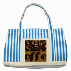 Funny Coffee Beans Brown Typography Striped Blue Tote Bag