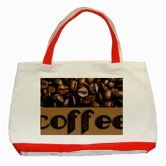 Funny Coffee Beans Brown Typography Classic Tote Bag (Red)