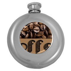 Funny Coffee Beans Brown Typography Round Hip Flask (5 oz)