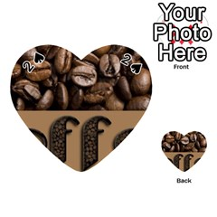 Funny Coffee Beans Brown Typography Playing Cards 54 (Heart)