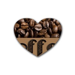Funny Coffee Beans Brown Typography Heart Coaster (4 pack)