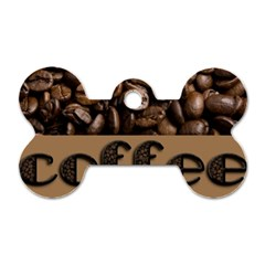 Funny Coffee Beans Brown Typography Dog Tag Bone (One Side)
